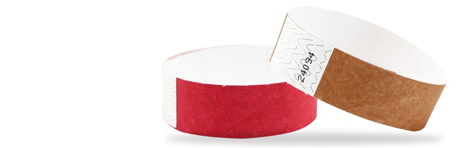 Tyvek wristbands in 21 colours